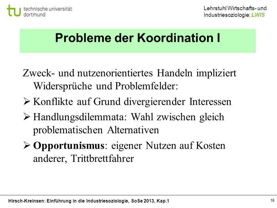 Probleme der Koordination I
