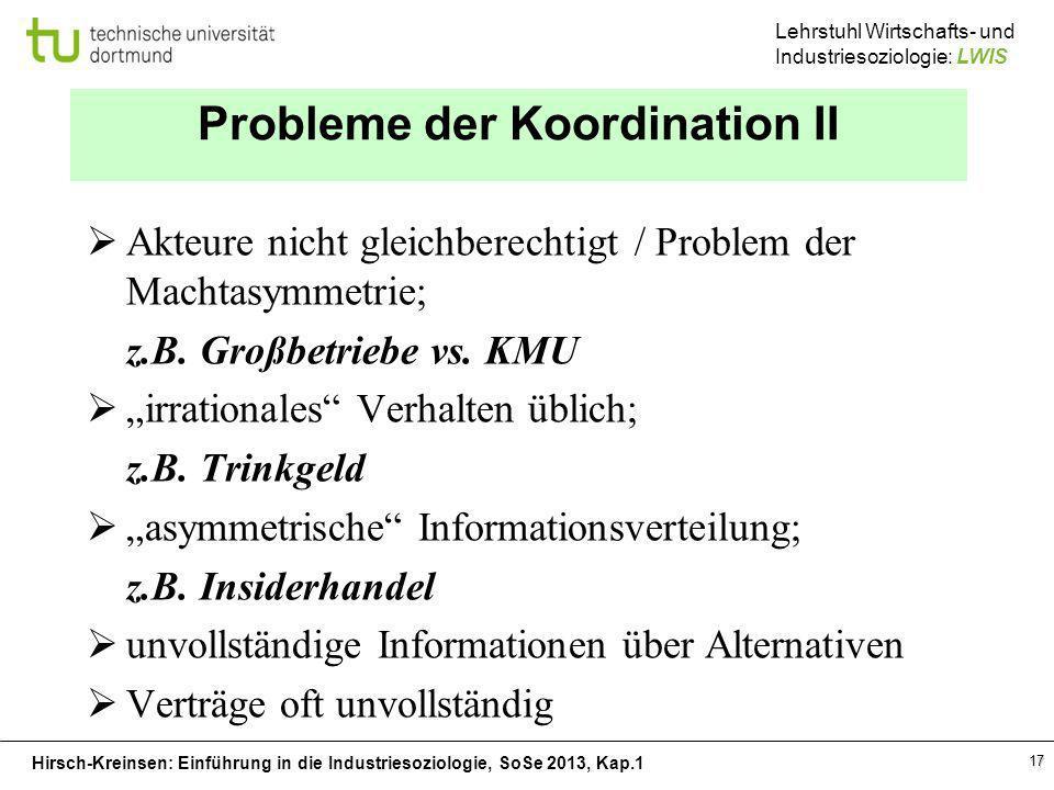 Probleme der Koordination II