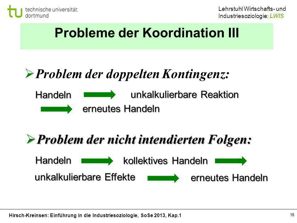 Probleme der Koordination III