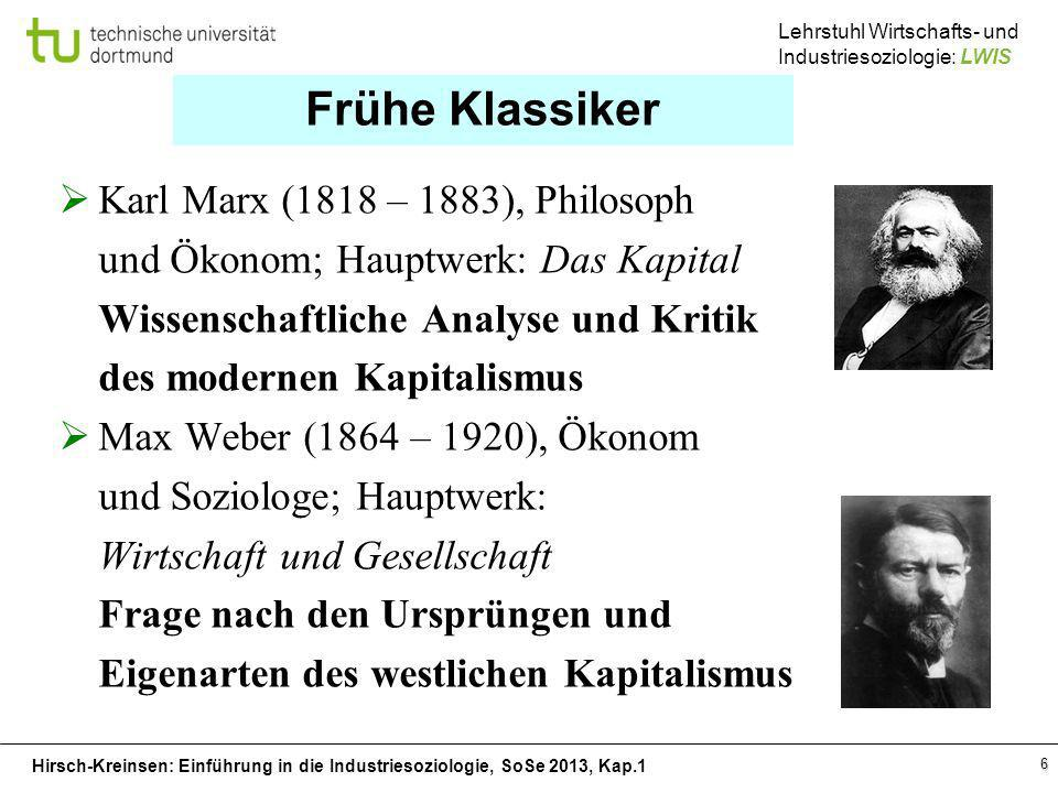 Frühe Klassiker Karl Marx (1818 – 1883), Philosoph