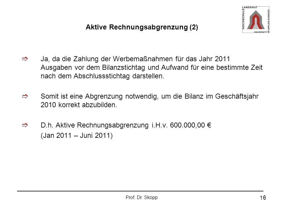 Aktive Rechnungsabgrenzung (2)