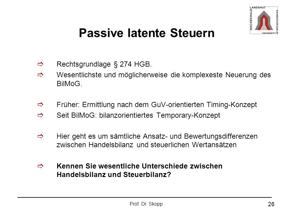 Passive latente Steuern