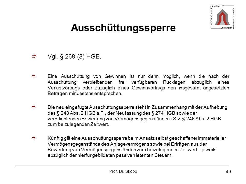 Ausschüttungssperre Vgl. § 268 (8) HGB.