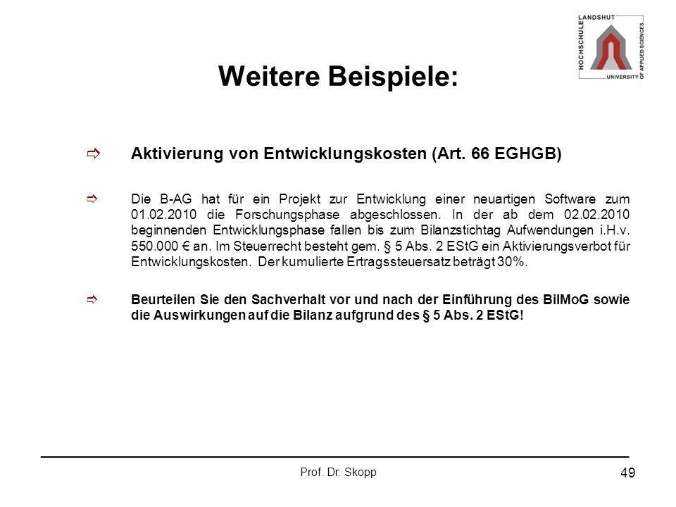 Weitere Beispiele: Aktivierung von Entwicklungskosten (Art. 66 EGHGB)