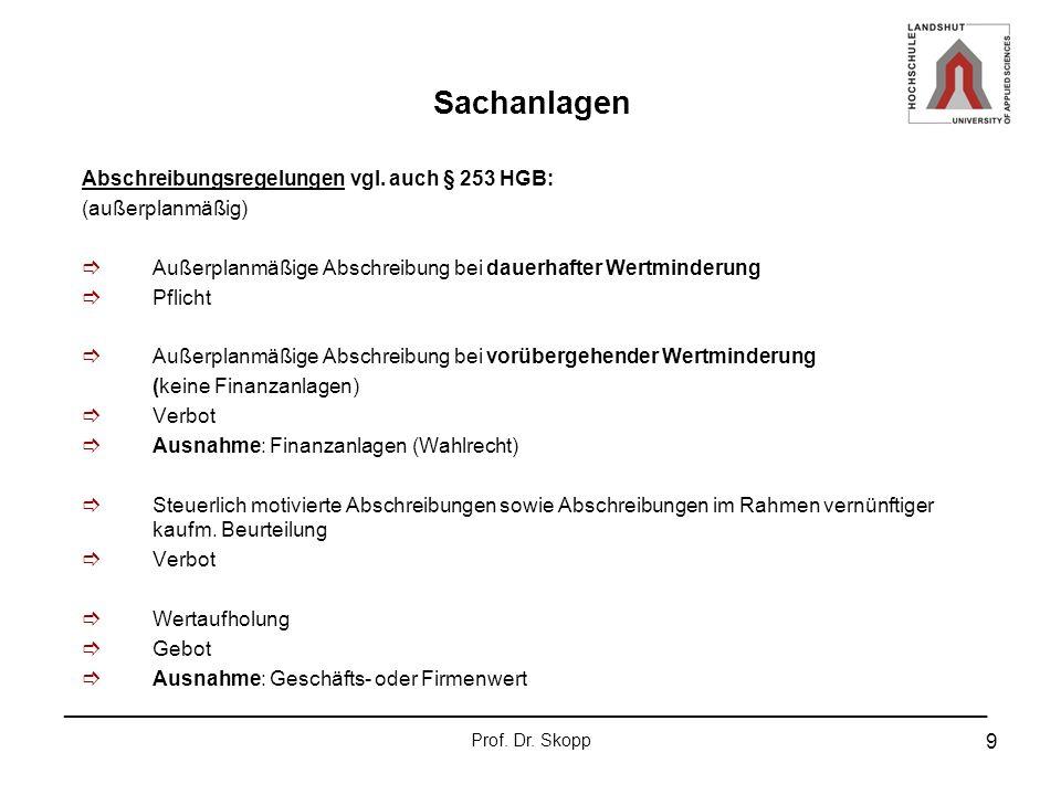 Sachanlagen Abschreibungsregelungen vgl. auch § 253 HGB: