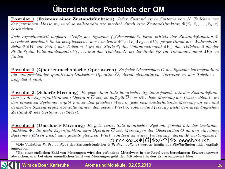 Übersicht der Postulate der QM