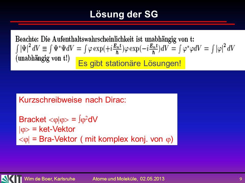 Lösung der SG Es gibt stationäre Lösungen!
