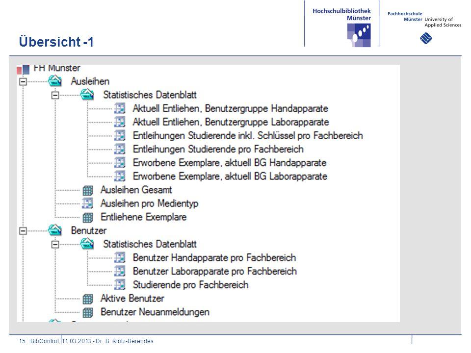 Übersicht -1 BibControl, 11.03.2013 - Dr. B. Klotz-Berendes
