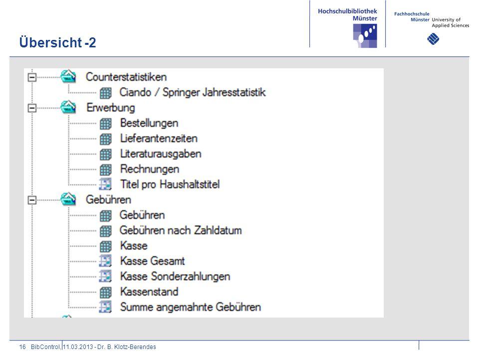 Übersicht -2 BibControl, 11.03.2013 - Dr. B. Klotz-Berendes