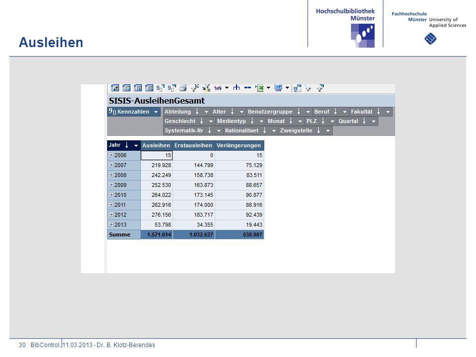 Ausleihen BibControl, 11.03.2013 - Dr. B. Klotz-Berendes