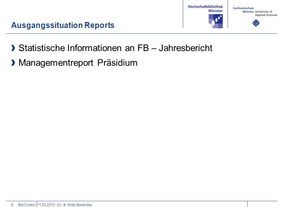 Statistische Informationen an FB – Jahresbericht