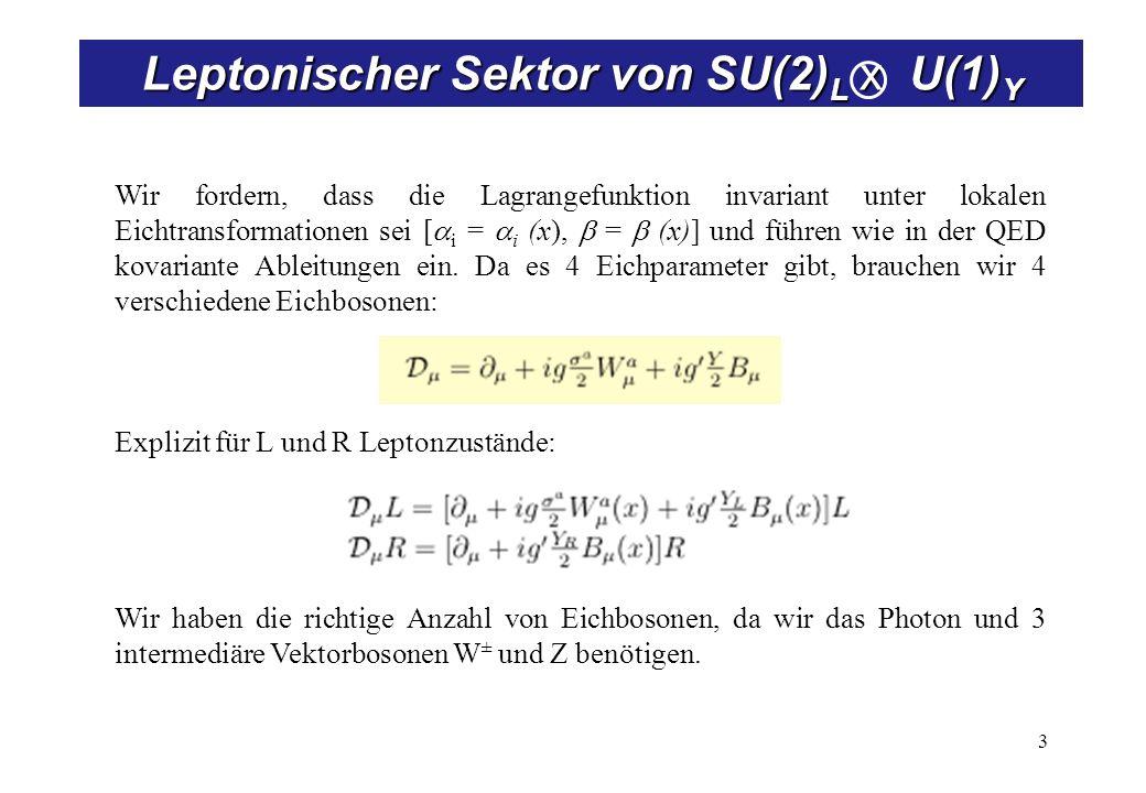 Lagrangefunktion von SU(2)L x U(1)Y