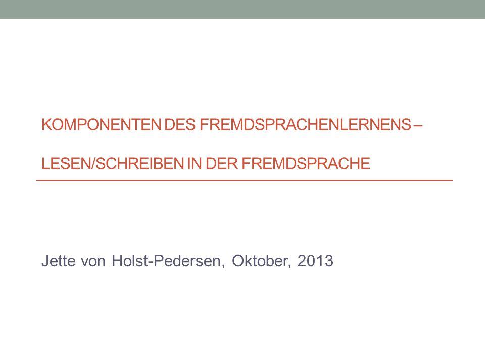 Jette von Holst-Pedersen, Oktober, 2013