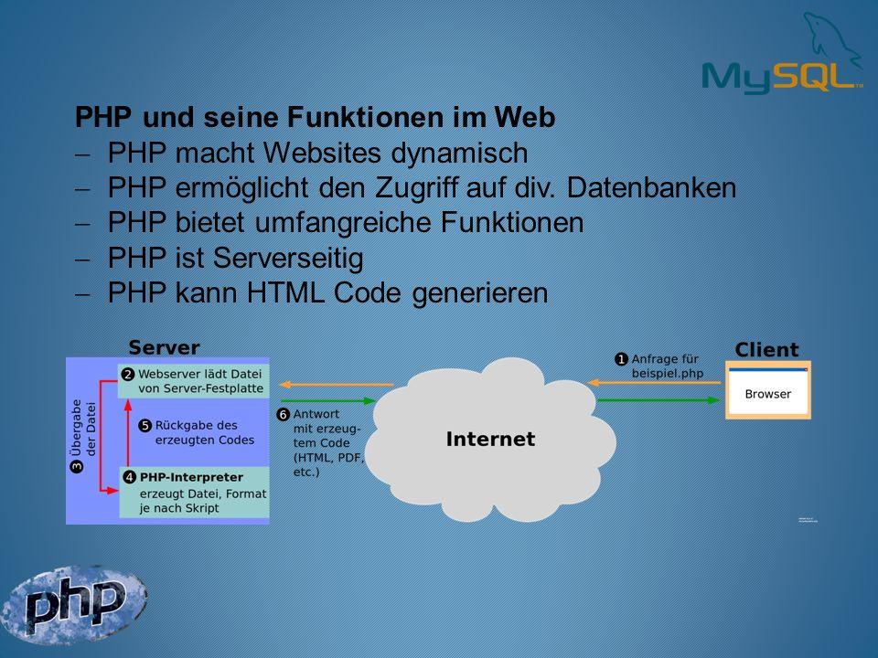 PHP und seine Funktionen im Web