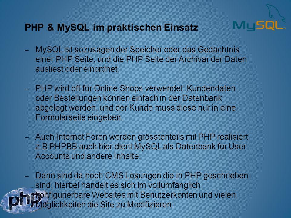 PHP & MySQL im praktischen Einsatz