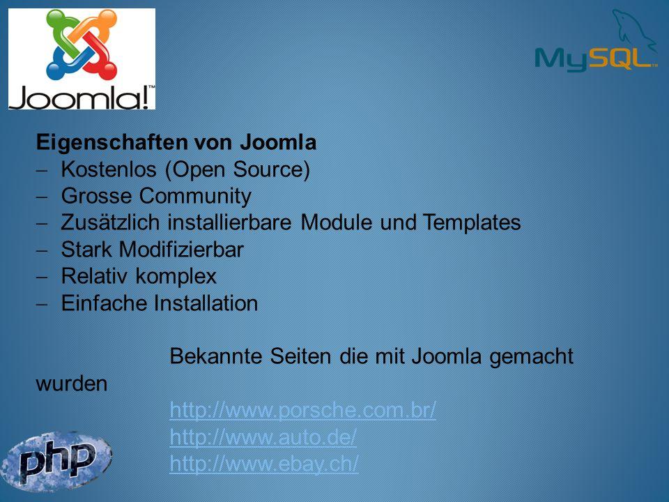 Eigenschaften von Joomla