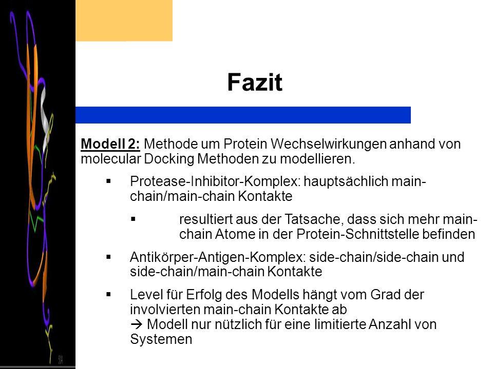Fazit Modell 2: Methode um Protein Wechselwirkungen anhand von molecular Docking Methoden zu modellieren.