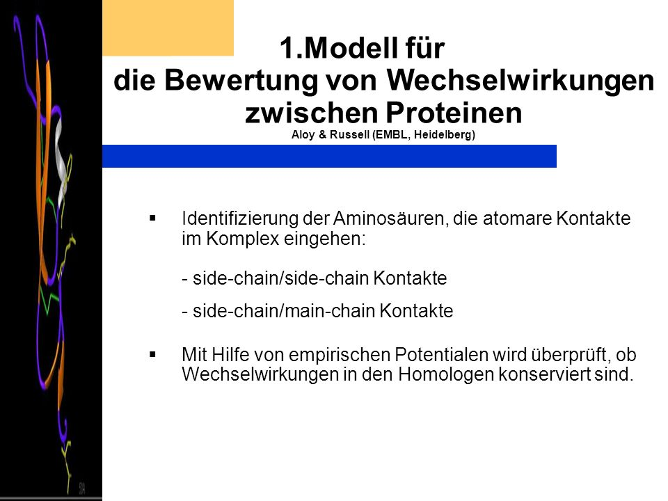 1.Modell für die Bewertung von Wechselwirkungen zwischen Proteinen Aloy & Russell (EMBL, Heidelberg)