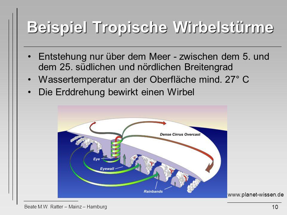Beispiel Tropische Wirbelstürme