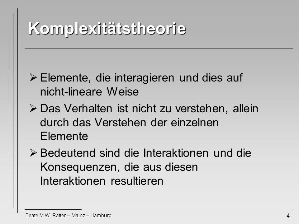 Komplexitätstheorie Elemente, die interagieren und dies auf nicht-lineare Weise.