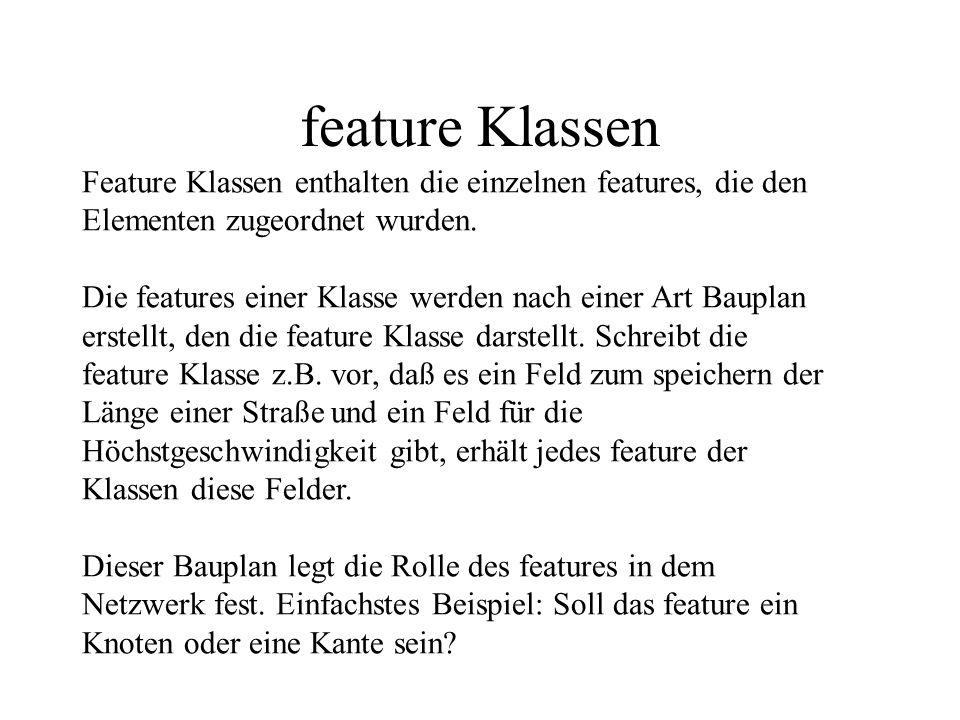 feature Klassen Feature Klassen enthalten die einzelnen features, die den Elementen zugeordnet wurden.