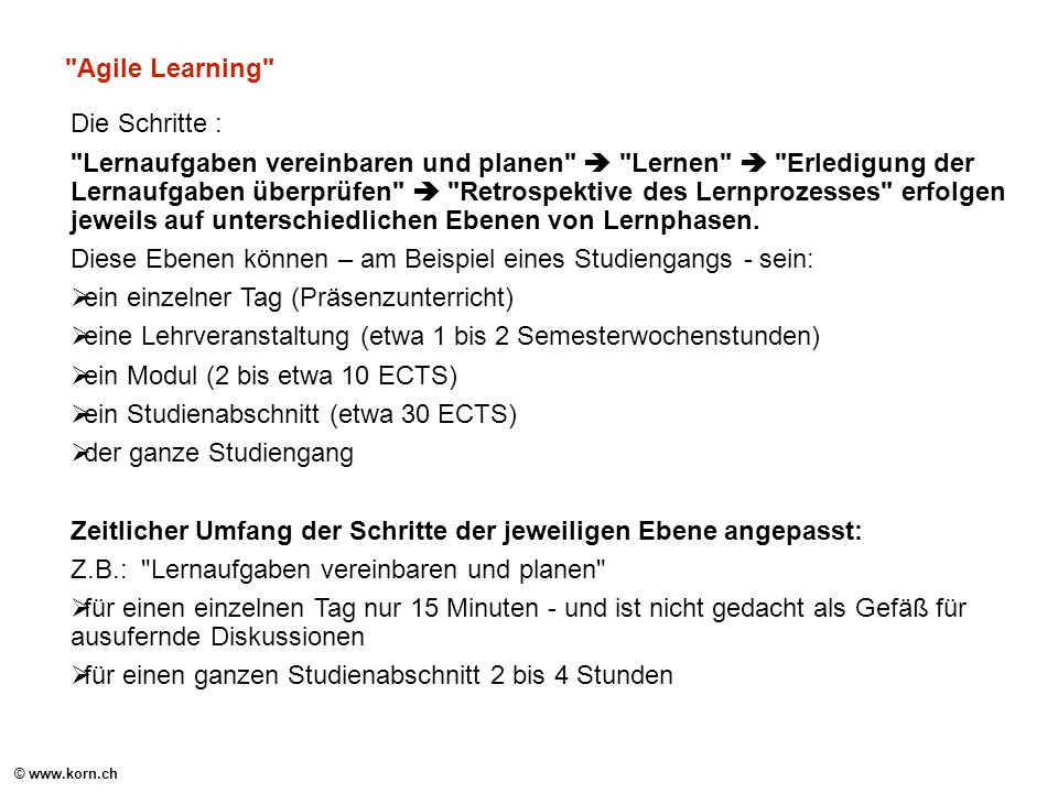 Agile Learning Die Schritte :