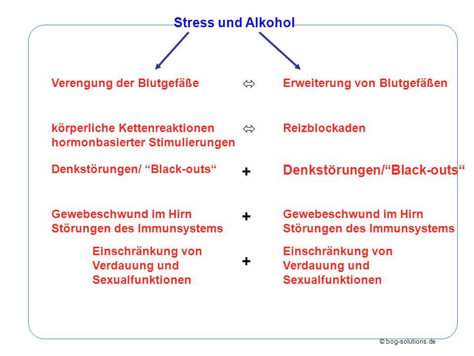 + + + Stress und Alkohol   Denkstörungen/ Black-outs
