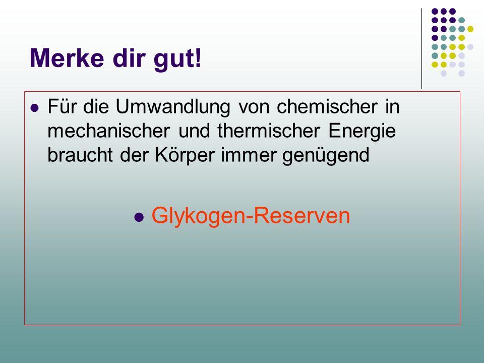Merke dir gut! Glykogen-Reserven
