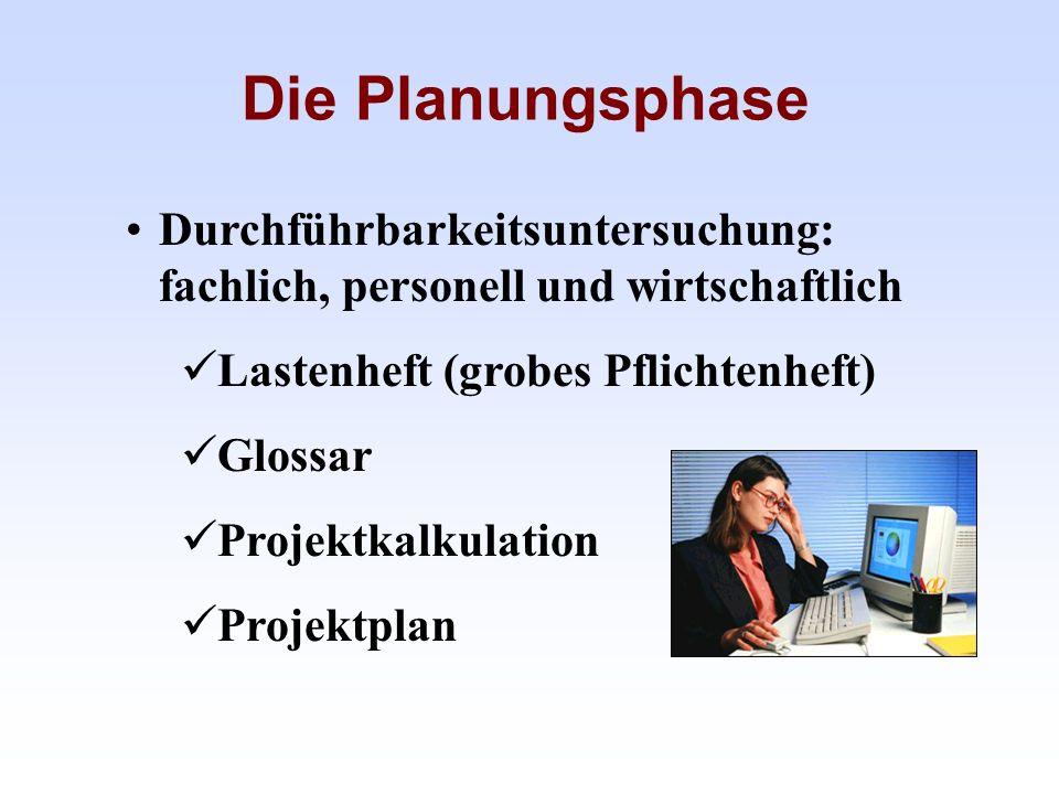Die Planungsphase Durchführbarkeitsuntersuchung: fachlich, personell und wirtschaftlich. Lastenheft (grobes Pflichtenheft)