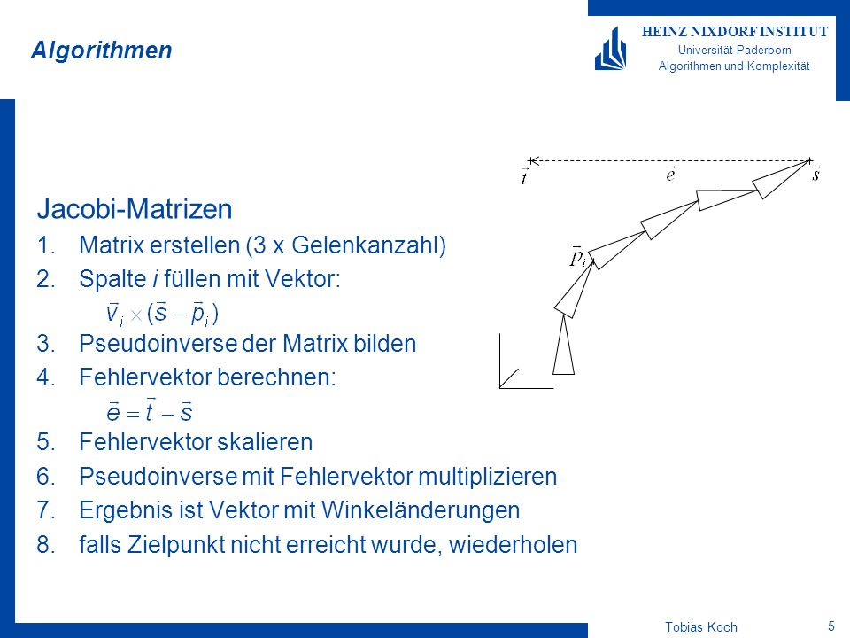 Jacobi-Matrizen Algorithmen Matrix erstellen (3 x Gelenkanzahl)