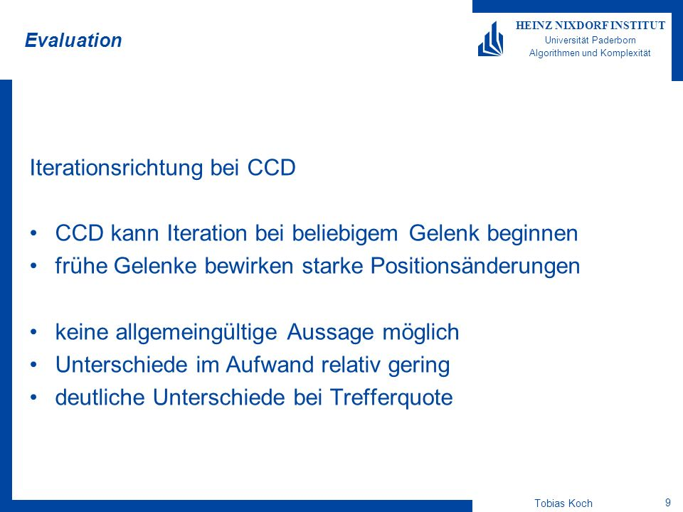 Iterationsrichtung bei CCD