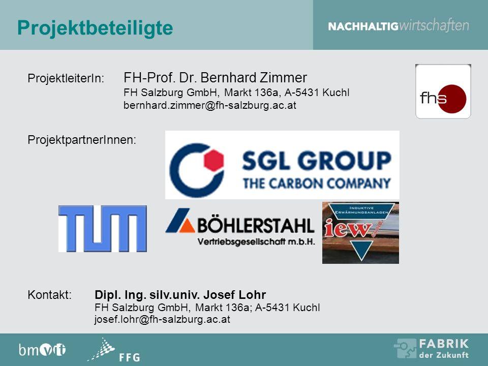 Projektbeteiligte ProjektleiterIn: FH-Prof. Dr. Bernhard Zimmer FH Salzburg GmbH, Markt 136a, A-5431 Kuchl bernhard.zimmer@fh-salzburg.ac.at.