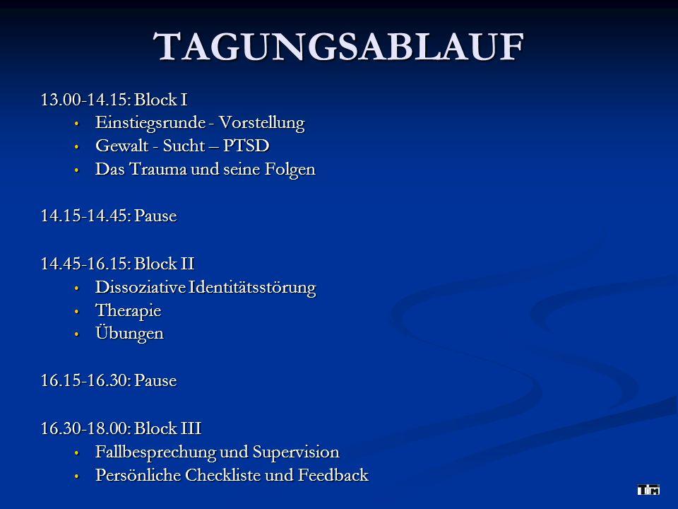 TAGUNGSABLAUF 13.00-14.15: Block I Einstiegsrunde - Vorstellung