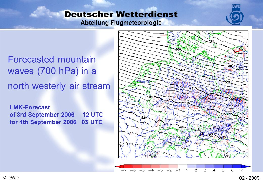 Forecasted mountain waves (700 hPa) in a north westerly air stream
