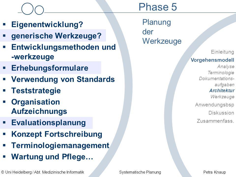 Phase 5 Planung der Werkzeuge Eigenentwicklung generische Werkzeuge