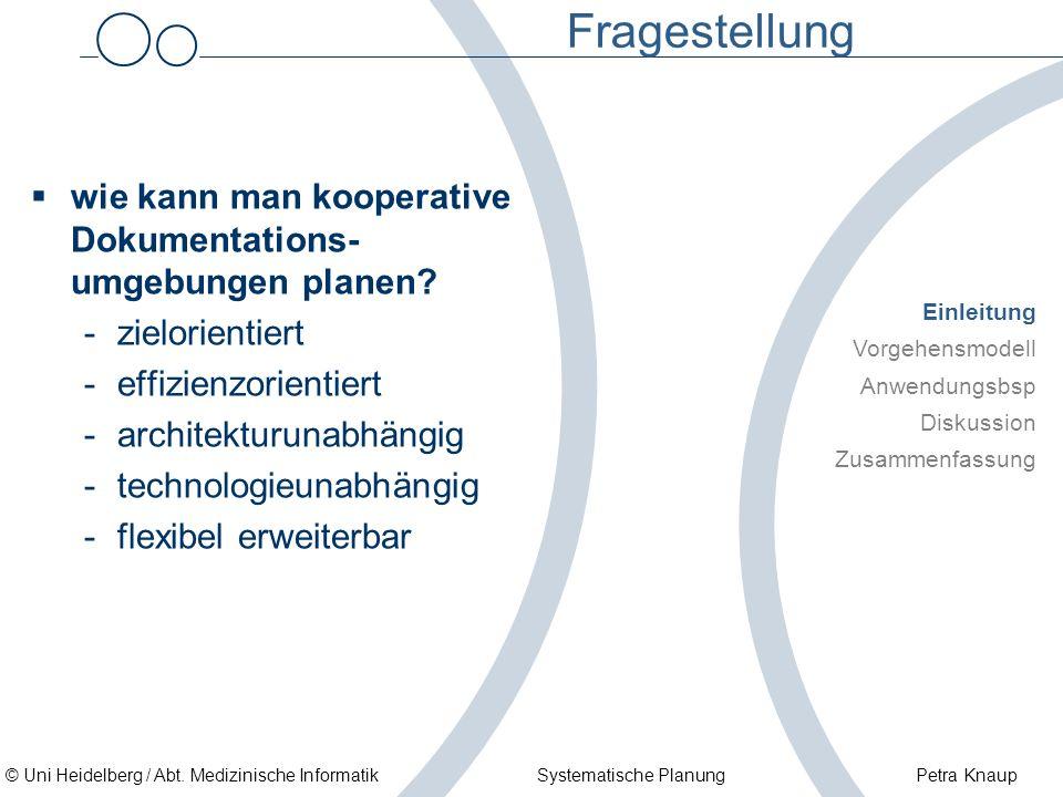 Fragestellung wie kann man kooperative Dokumentations-umgebungen planen zielorientiert. effizienzorientiert.