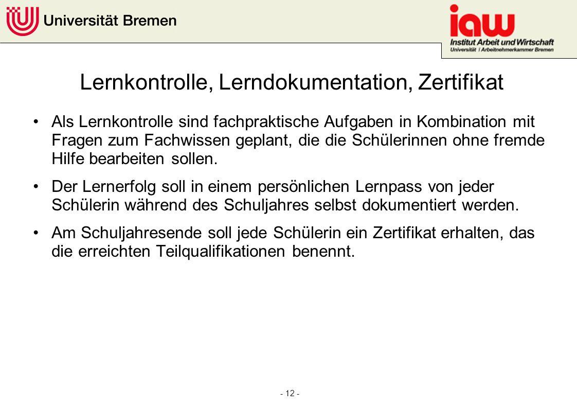Lernkontrolle, Lerndokumentation, Zertifikat