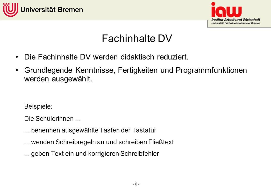 Fachinhalte DV Beispiele: