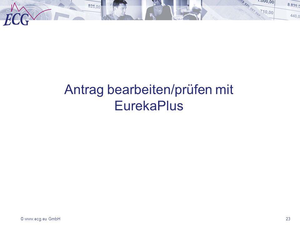 Antrag bearbeiten/prüfen mit EurekaPlus