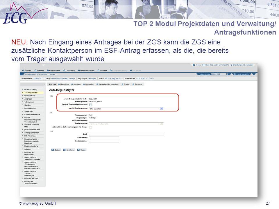 TOP 2 Modul Projektdaten und Verwaltung/ Antragsfunktionen