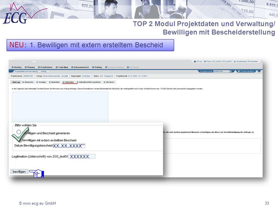 TOP 2 Modul Projektdaten und Verwaltung/