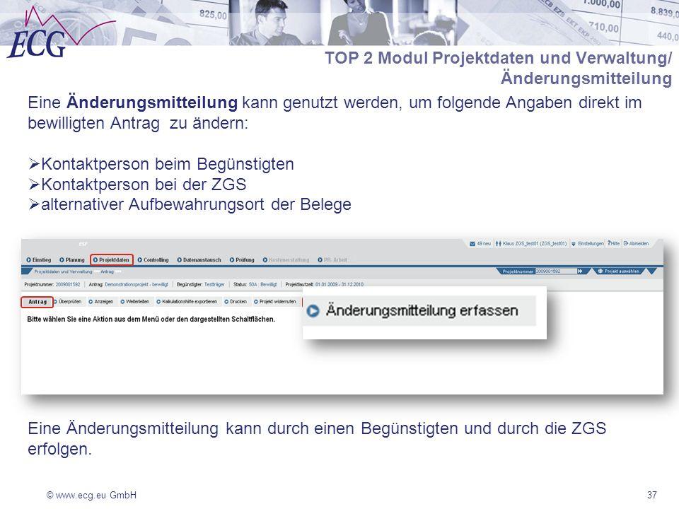 TOP 2 Modul Projektdaten und Verwaltung/ Änderungsmitteilung