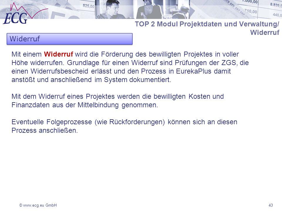 TOP 2 Modul Projektdaten und Verwaltung/ Widerruf Widerruf