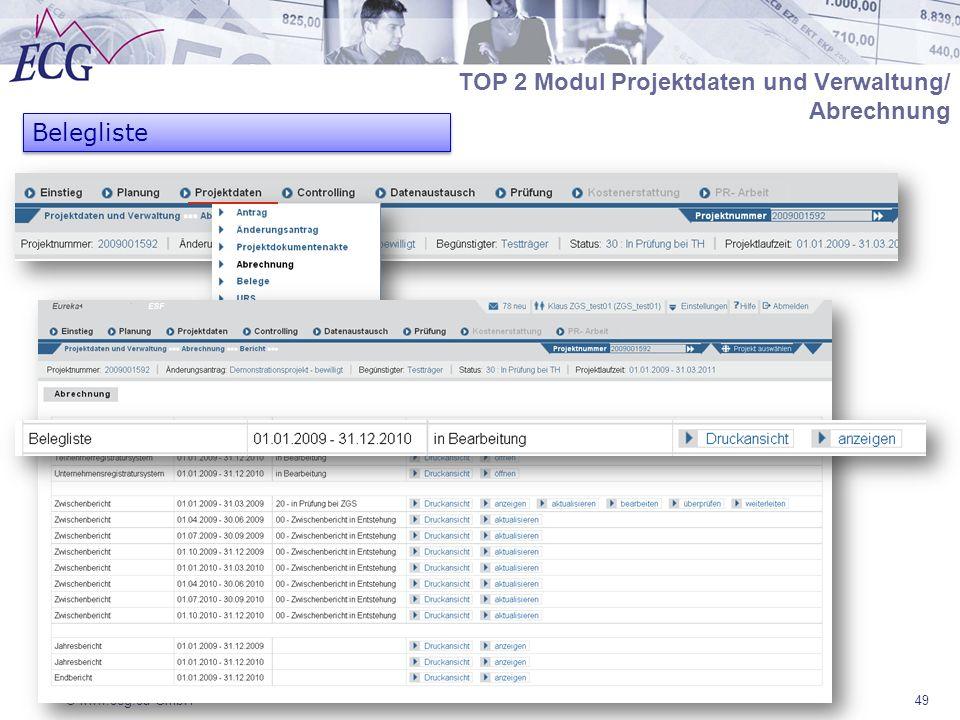 TOP 2 Modul Projektdaten und Verwaltung/ Abrechnung Belegliste