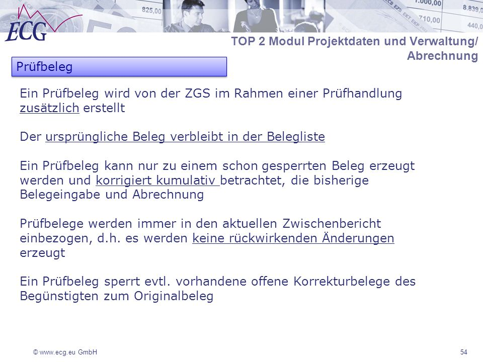 TOP 2 Modul Projektdaten und Verwaltung/ Abrechnung Prüfbeleg