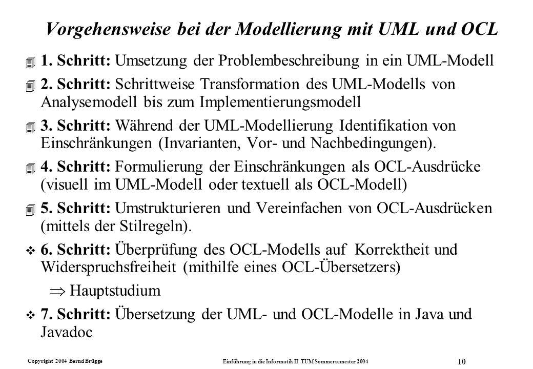 Vorgehensweise bei der Modellierung mit UML und OCL