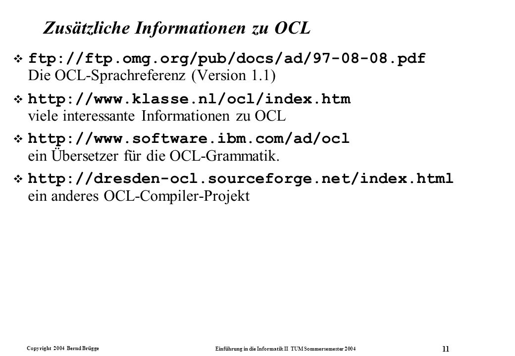 Zusätzliche Informationen zu OCL