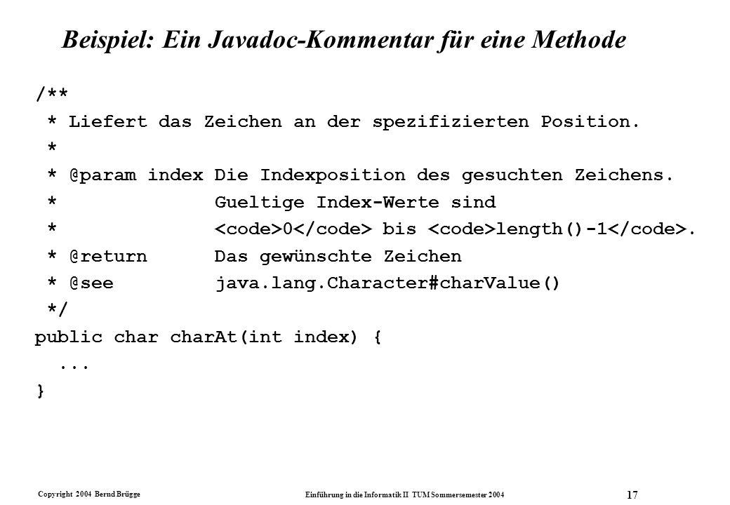Beispiel: Ein Javadoc-Kommentar für eine Methode