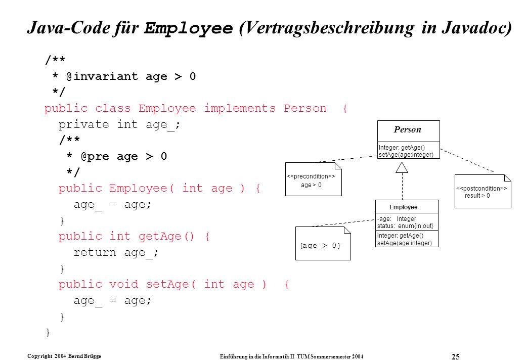 Java-Code für Employee (Vertragsbeschreibung in Javadoc)