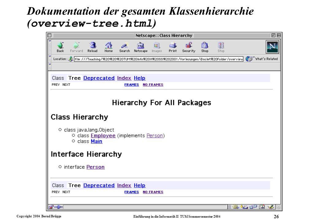Dokumentation der gesamten Klassenhierarchie (overview-tree.html)